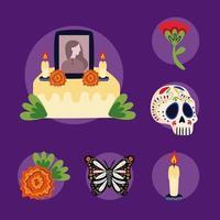 Altar mexicano del día de muertos con iconos de estilo plano vector