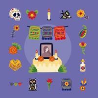 Altar mexicano del día de muertos con conjunto de iconos de estilo plano vector