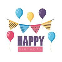 happy birthday badge with balloons helium and garlands hanging vector