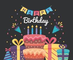 happy birthday poster with cake and gift boxes vector