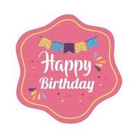 happy birthday badge pink with garlands hanging vector
