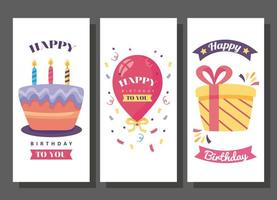 happy birthday banners with cute decoration vector