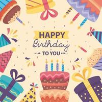 happy birthday poster with cute decoration vector