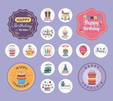 bundle of badges happy birthday with cute decoration vector