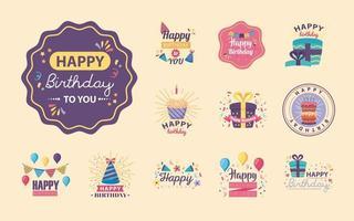 twelve badges happy birthday with decoration vector