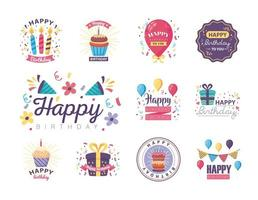 eleven badges happy birthday with decoration vector