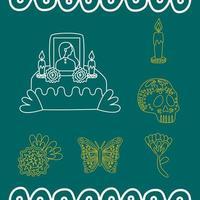 Altar mexicano del día de muertos con iconos de estilo de línea vector