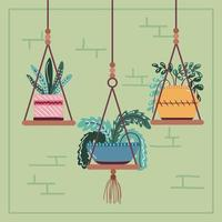 house plants on pot in hanging decoration scandinavian style vector