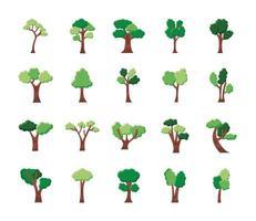 paquete de veinte árboles establecer iconos vector