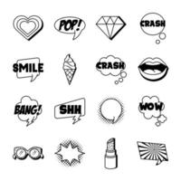 bundle of sixteen pop art set icons vector