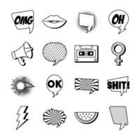 bundle of sixteen pop art set collection icons vector