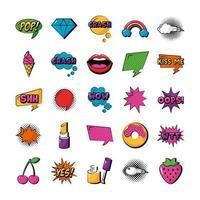 paquete de veinticinco iconos de colección de conjunto de arte pop vector