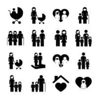 bundle of sixteen family parents set icons vector