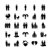 paquete de veinticinco padres de familia establecer iconos de colección vector