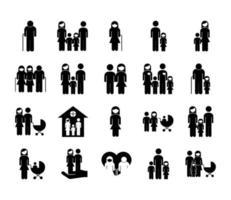 paquete de veinte padres de familia establecer iconos vector