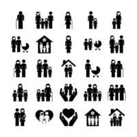 paquete de veinticinco padres de familia establecer iconos vector