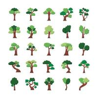 paquete de veinticinco árboles establecer iconos vector