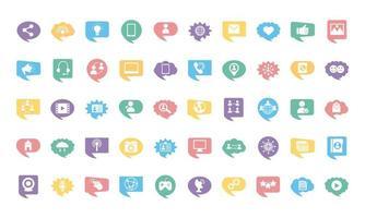 cincuenta iconos de conjunto de marketing en redes sociales vector