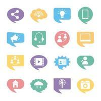sixteen social media marketing set collection icons vector