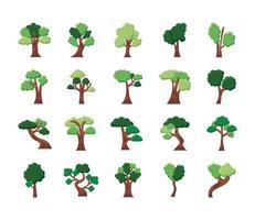 paquete de veinte árboles conjunto de iconos de colección vector