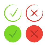 Check mark icons Symbols of approving and declining vector