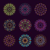 Colorful Firework Element Collection vector