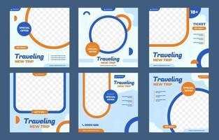 Traveling Social Media Post Template vector