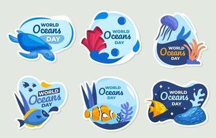 World Oceans Day Sticker Set vector