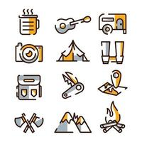 colección de iconos de camping de verano vector