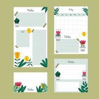 colección de plantillas de cuaderno de flores vector
