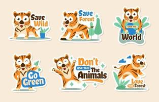 Tiger Day Sticker Collection vector