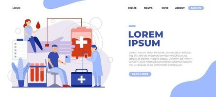 Landing Page World Blood Donor Concept vector