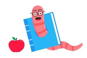 Worm with apple cartoon character icon sigh Worm with face expression vector