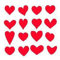 Heart icons full red colors set vector illustration Happy Valentines and wedding symbols in many variation of shape