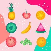 Summer Fruits Icon Set Template vector