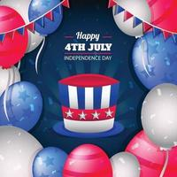 Happy 4th July with Decoration Background Template vector