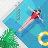 Girls Enjoy Summer at the Pool vector