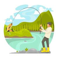 Man Fishing by the River vector
