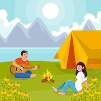 Couple Enjoying Summer Camping vector