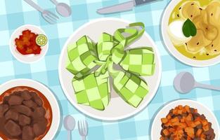 Various Eid Foods on the Table vector