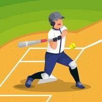 Man Playing Softball vector