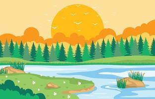 Summer Sunset Scenery Background vector