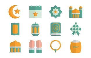 Ketupat and Islamic Element Icon vector
