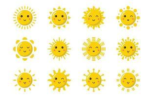 Cartoony Sun Icon Set vector