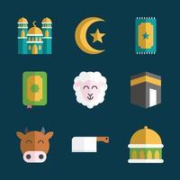 Eid Adha Cute Icon Set vector