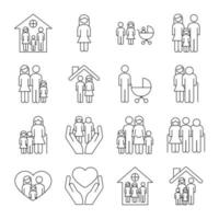 bundle of sixteen family parents set collection icons vector