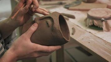 Ceramist Working on A Mug video