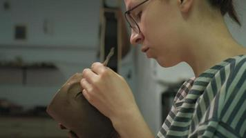 A Ceramist at Work Creating a Mug video