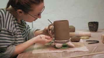 Ceramist Working in the Workshop video