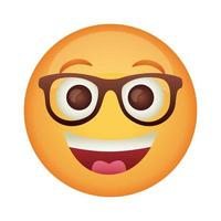 emoji face laughing with eyeglasses flat style icon vector
